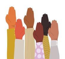 geschlossene Handfläche verschiedener Arten von Häuten