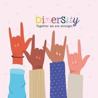 mångfald tillsammans vi är starkare och rock händer