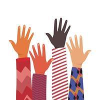 Öffnen Sie die Hände verschiedener Hauttypen