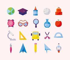 Ikonuppsättning av tillbaka till skolan design