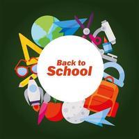 Symbolsatz von zurück zum Schulentwurf