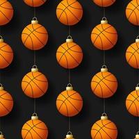 nahtloses Muster der hängenden Basketballverzierungen der Weihnachten