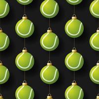 Weihnachten hängenden Tennisballverzierungen nahtloses Muster