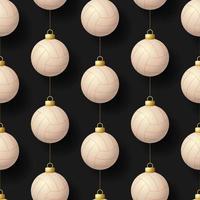 jul hängande volleyboll ornament sömlösa mönster vektor