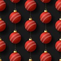 jul hängande cricket boll ornament sömlösa mönster vektor