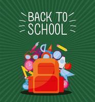Tasche mit Symbolsatz zurück zur Schule