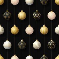 jul hängande ornament och volleyboll sömlösa mönster vektor