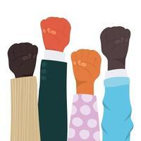 knytnäve skylt med händer av olika typer av skinn