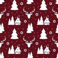jul sömlösa mönster med rådjur, snöflingor och träd