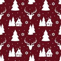 nahtloses Weihnachtsmuster mit Hirschen, Schneeflocken und Bäumen