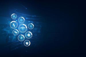 Medizinwissenschaftliche Ikonen auf abstraktem Technologiehintergrund
