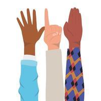 Nummer eins Zeichen und Hände offen