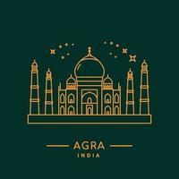Taj Mahal Liniendesign vektor