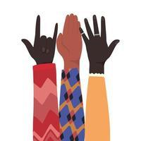 Felsschild und offene Hände hoch
