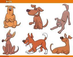 hundar och valpar glada djur teckenuppsättning