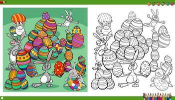 påskkaniner med färgäggsida för målarbok vektor