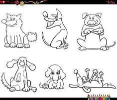 Cartoon Hunde Zeichen Set Farbbuch Seite