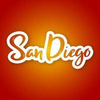 Hand gezeichnete Beschriftung von San Diego auf Farbverlauf
