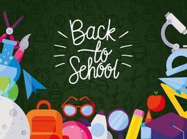 Ikonuppsättning av tillbaka till skolan på en tavla