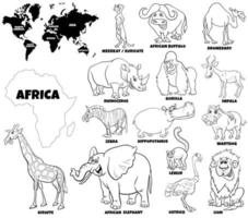 pädagogische Reihe von afrikanischen Tieren vektor