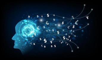 abstrakte künstliche Intelligenz. Geldüberweisung. vektor