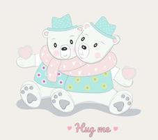 söta babybjörnkaraktärer kramar