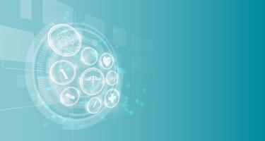 medicinska vetenskap ikoner på abstrakt teknik bakgrund