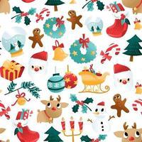Spaß Cartoon Weihnachtsferien Dekorationen nahtloses Muster