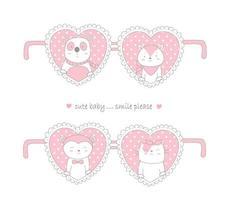 Valentinstag Design mit niedlichen Tieren in Herzen