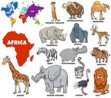 pädagogisches Set von afrikanischen Tieren gesetzt vektor