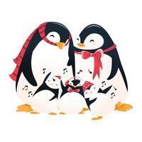 super söt tecknad semester pingvin familj