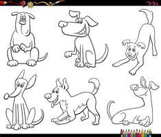 Cartoon Hunde Set Malbuch Seite vektor