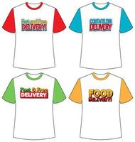 Satz von verschiedenen Arten der Lieferung Logo Bildschirm auf verschiedenen Farben T-Shirt isoliert vektor
