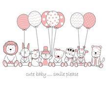 handritade söta baby djur med ballonger
