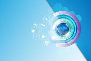 Medizinwissenschaftliche Ikonen auf abstraktem Technologiehintergrund vektor