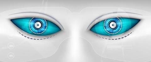 robotens öga. futuristiskt hudgränssnitt