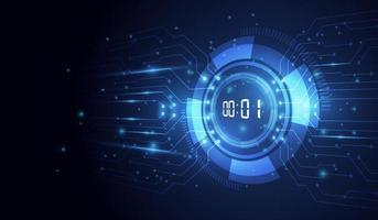 abstrakt futuristisk teknikbakgrund med digitalt nummertimerkoncept och nedräkning, vektor transparent