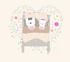 süße Babykatze und Ratte im Bett