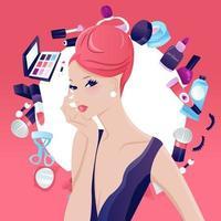 glamorös chic updo hår flicka skönhet makeup design vektor