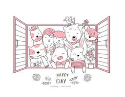 süße Tierbabys im Fenster