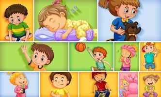 Satz von verschiedenen Kindercharakteren auf verschiedenem Farbhintergrund vektor