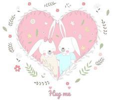 söta babykaniner i blommigt hjärta