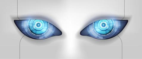 Auge des Roboters. futuristische Hud-Schnittstelle, Vektorillustration