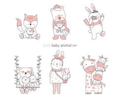 handritade söta baby djur