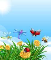 tom natur bakgrund med många olika insekter vektor
