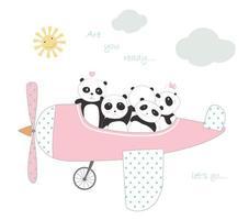 söta pandabarn i plan för att resa på semester