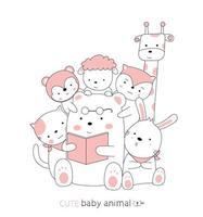 handgezeichnete niedliche Tierbabys
