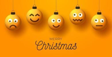 Weihnachtsgruß mit Emoji-Gesichtsverzierungen