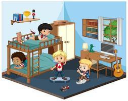 Kinder in der Schlafzimmerszene auf weißem Hintergrund vektor