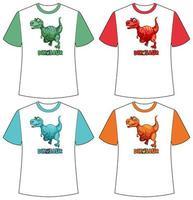 Satz von verschiedenen Farben Dinosaurier Bildschirm auf T-Shirts